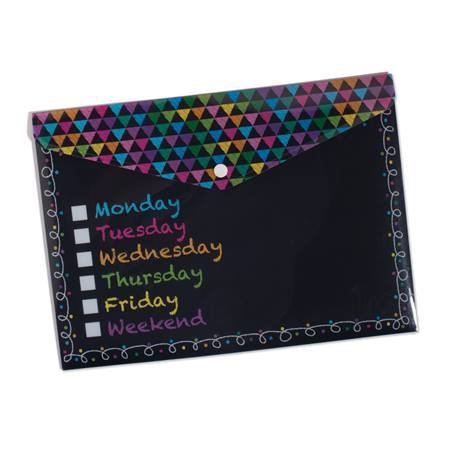 Poly Folder With Snap - Chalkboard Days of the Week