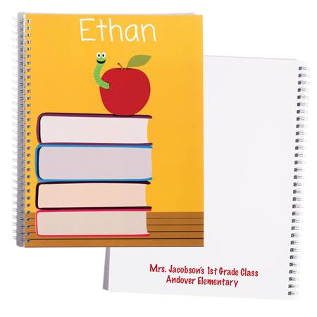 Personalized Notebook - Apple and Books