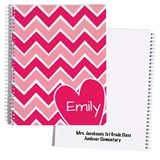 Personalized Notebook - Chevrons and Heart
