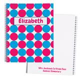 Personalized Notebook - Blue/Pink Polka Dots