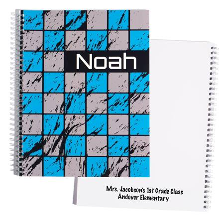 Personalized Notebook - Blue/Gray Blocks