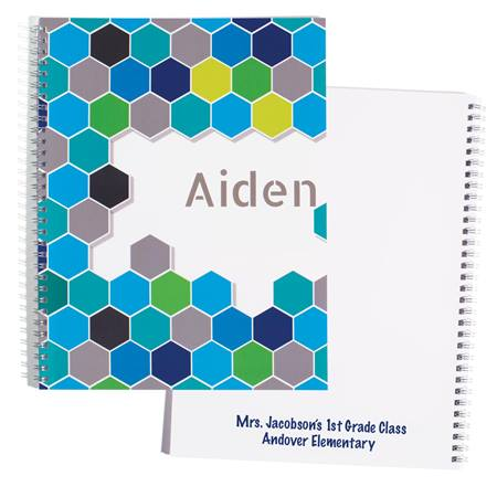 Personalized Notebook - Blue Geometric