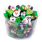 Pencil Top Erasers - Holiday, 108/pkg
