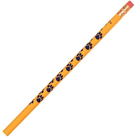 Paw Print Pencil - Gold/Blue