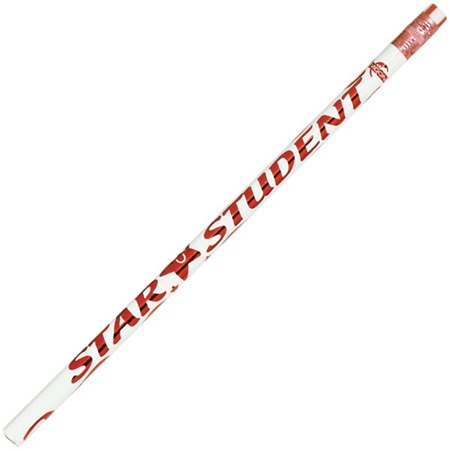 Motivational Pencil - White/Red Star Student
