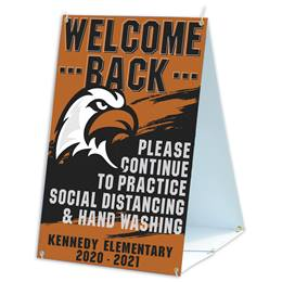 Custom Sandwich Board Sign - Welcome Back/Social Distancing
