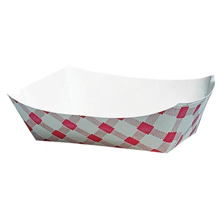 Red Gingham Paper Food Trays