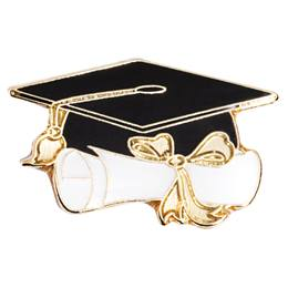 Grad Cap and Scroll Award Pin