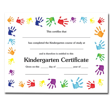 handprint kindergarten certificate anderson s
