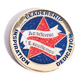 Academic Excellence Award Pin - Red Glitter Star