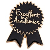 Black and Gold Excellent in Academics Ribbon Pin