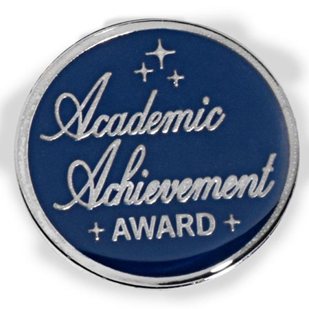 Blue and Silver Academic Achievement Award Pin