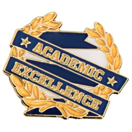 Blue and Gold Academic Excellence Ribbon and Wreath Pin