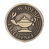 Academic Excellence Award Pin - Brushed Metal Lamp of Learning