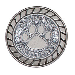 Academic Excellence Award Pin - Silver Glitter Paw