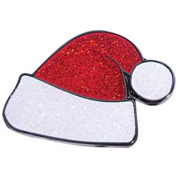 Santa Hat Glitter Lapel Pin