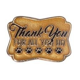 Thank You for all You do Black/Gold Glitter Paw Pin