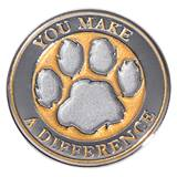 You Make a Difference Silver/Gold Glitter Paw Pin