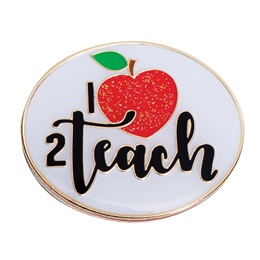 Teacher Award Pin - I Heart 2 Teach