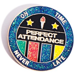 Attendance Award Pin - Glitter On Time Never Late