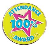 Attendance Award Pin - 100% Star