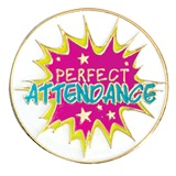 Attendance Award Pin - Perfect Attendance Burst