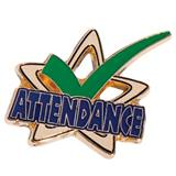 Green Checkmark Attendance Star Pin