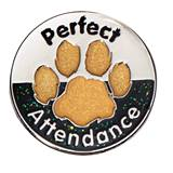 Perfect Attendance Silver/Black/Gold Glitter Paw Pin