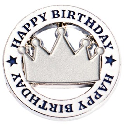 Happy Birthday Award Pin - Bling Crown