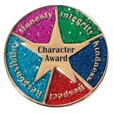Character Award Pin - Gold Star With Glitter Circle