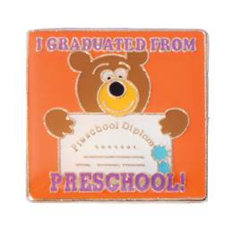 Graduation Award Pin - I Graduated From Preschool/Bear With Diploma