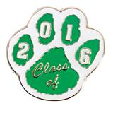 Award Pin - Class of 2016 Green and White Paw