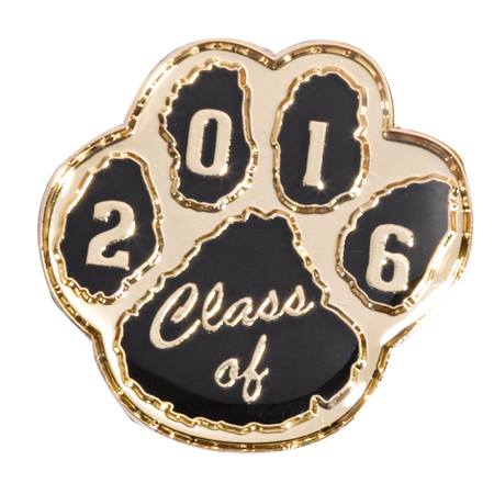 Award Pin - Class of 2016 Black/Gold Paw