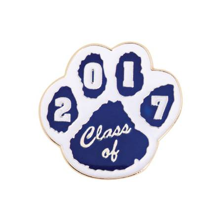 Class of 2017 Award Pin - Blue and White Paw