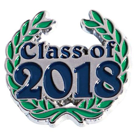 Blue Class of 2018 with Wreath Pin