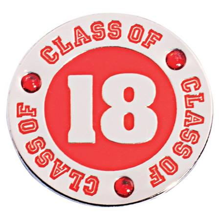 Class of 2018 Award Pin - Red Rhinestones