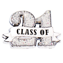 Class of 21 Ribbon Glitter Pin