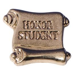 Honor Roll Award Pin - Gold Scroll Honor Student