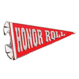 Red Honor Roll Banner Pin
