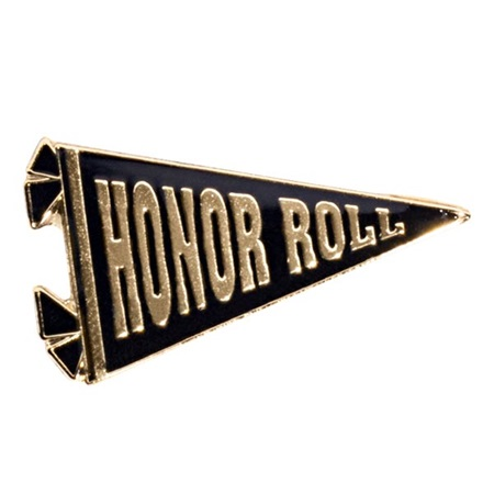 Black and Gold Honor Roll Banner Pin