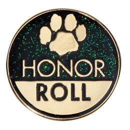 Honor Roll Black/Gold Paw Glitter Pin