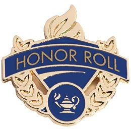 Honor Roll Award Pin - Blue/Gold