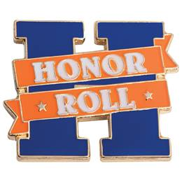 Honor Roll Award Pin - Orange Banner