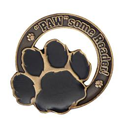 "Reading Award Pin - Die-cut ""PAW""some Reader"