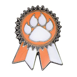 Orange Paw Sunflower Ribbon Pin