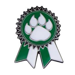 Green Paw Sunflower Ribbon Pin