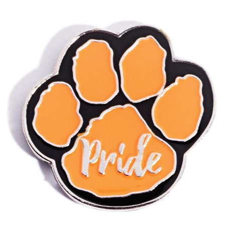 Paw Pride Award Pin - Orange/Black