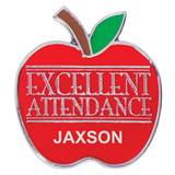 Personalized Award Pin -  Excellent Attendance Apple