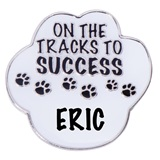 Personalized Paw Award Pin - On the Tracks to Success