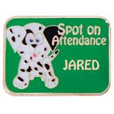 Personalized Rectangle Award Pin - Spot on Attendance